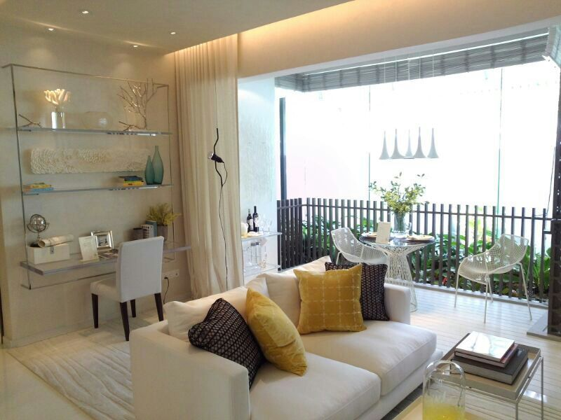 Inflora Condo Showflat :: 2 Bedroom Living :: Cool Colour Scheme