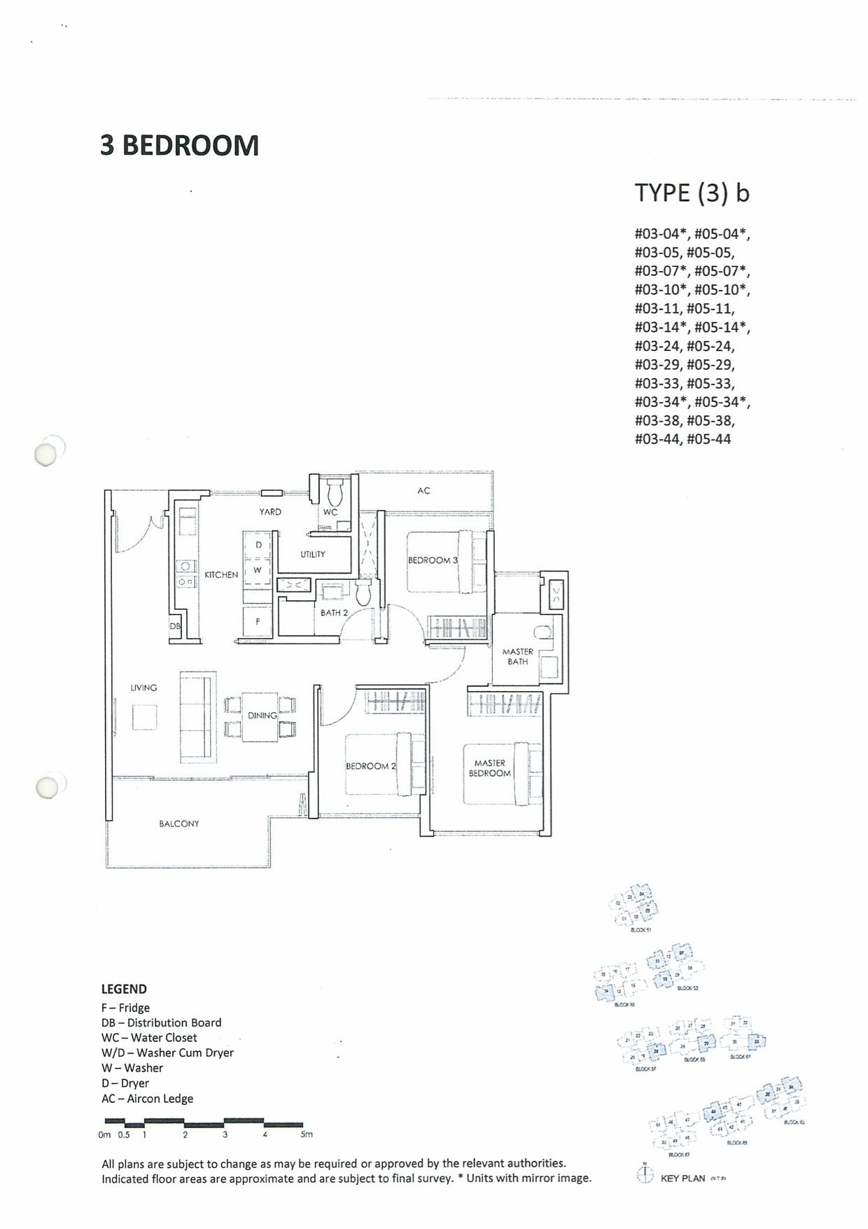 Inflora Condo Layout Plan :: 3 Bedrooms