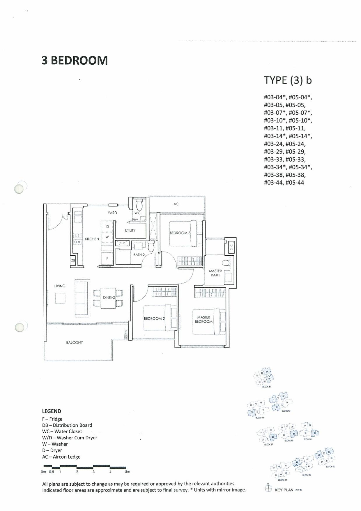Inflora Condo Layout Plan :: 3 Bedrooms